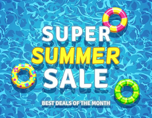Fondo di vendita di estate di vettore con anelli di piscina Vettore Premium