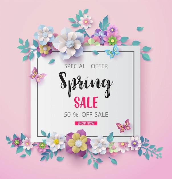 Fondo di vendita di primavera con bel fiore Vettore Premium