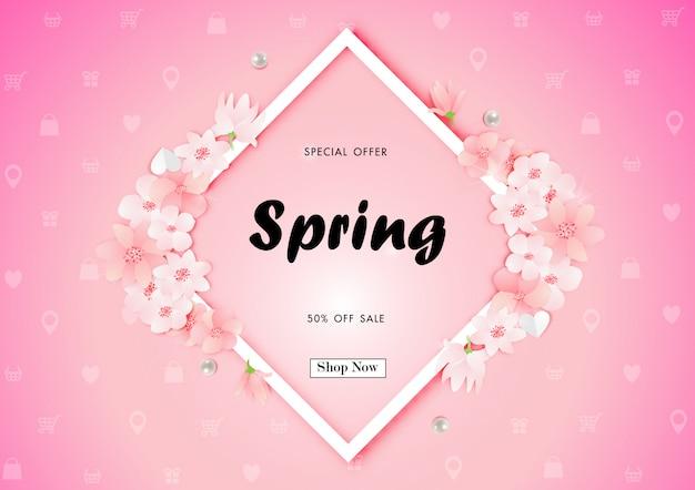 Fondo di vendita di primavera con vettore di fiore di ciliegio Vettore Premium