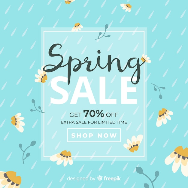 Fondo di vendita primavera piatta Vettore gratuito