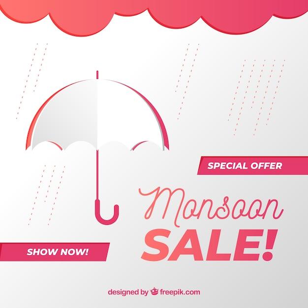 Fondo di vendite di monsone con gli ombrelli Vettore gratuito