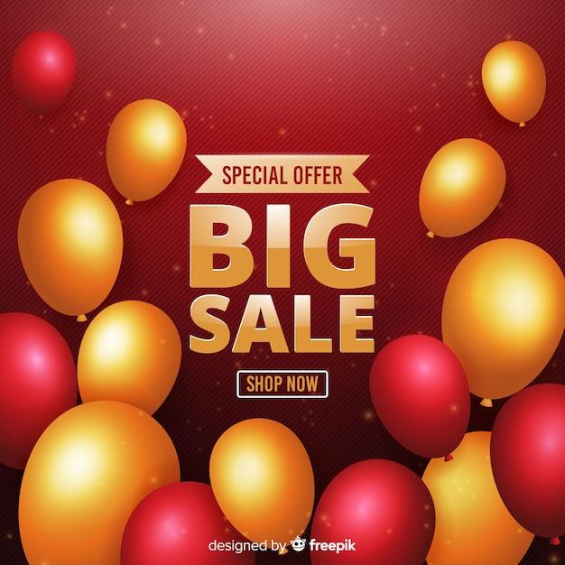 Fondo di vendite di palloncini decorativi realistico Vettore gratuito