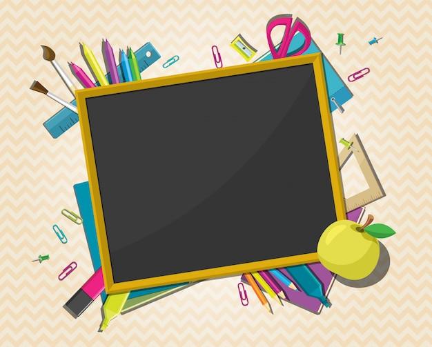 Fondo di vettore degli strumenti dell'ufficio scolastico. Vettore Premium