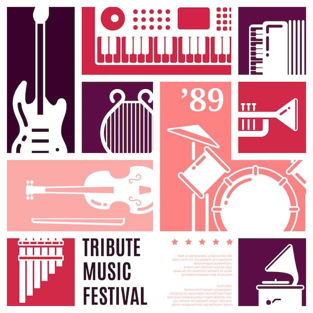 Fondo di vettore dell'estratto di festival di musica Vettore Premium