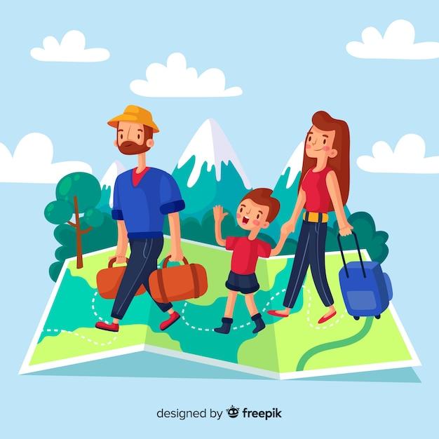 Fondo di viaggio della famiglia disegnata a mano Vettore gratuito