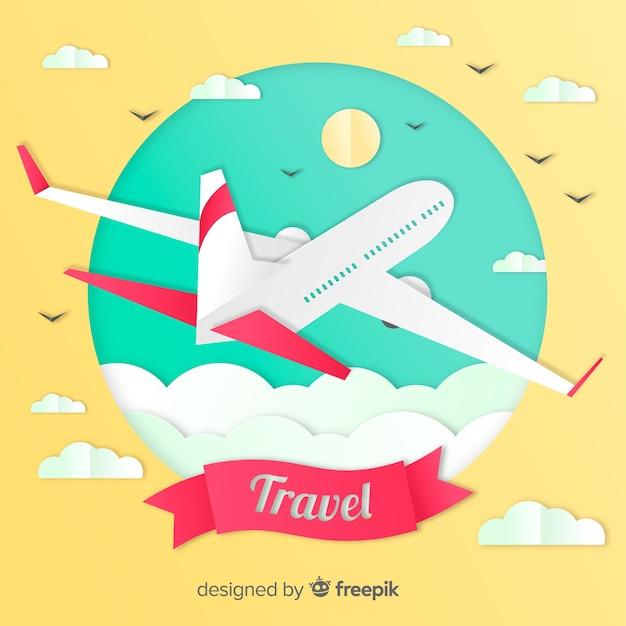 Fondo di viaggio di arte di carta Vettore gratuito