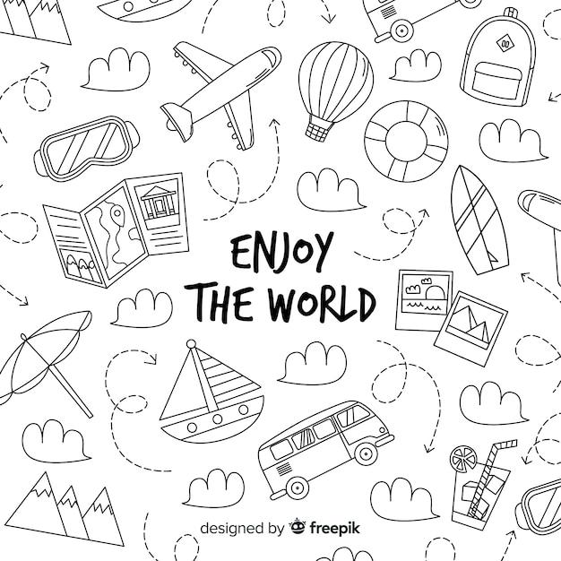 Fondo di viaggio di doodle disegnato a mano Vettore gratuito