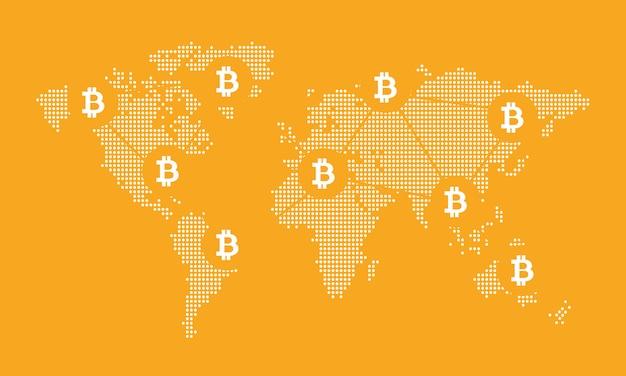 Fondo digitale della rete della mappa di mondo. vettore di concetto di bico Vettore Premium