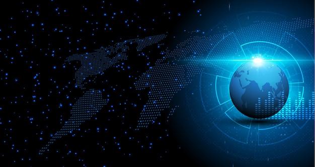 Fondo digitale di concetto dell'innovazione di tecnologia del modello di struttura della mappa di mondo astratta Vettore Premium