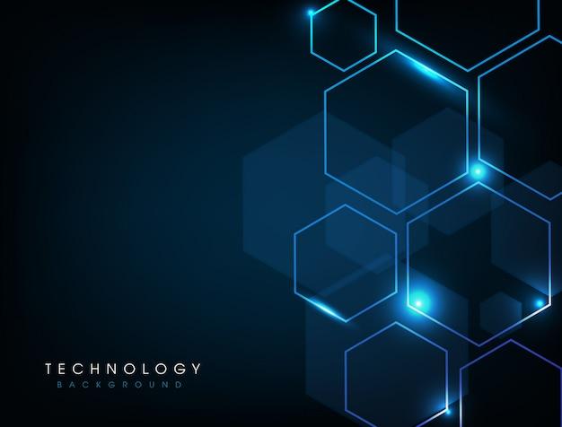 Fondo digitale di tecnologia astratta blu Vettore Premium