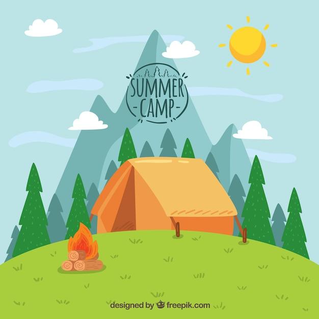 Fondo disegnato a mano del campo estivo con la tenda sulla collina Vettore gratuito