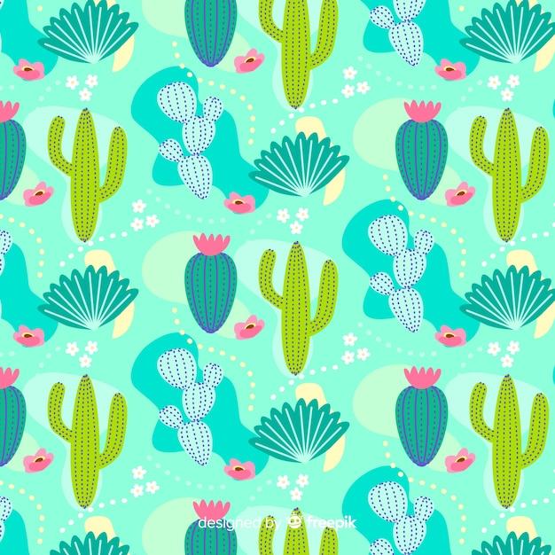 Fondo disegnato a mano del modello del cactus Vettore gratuito