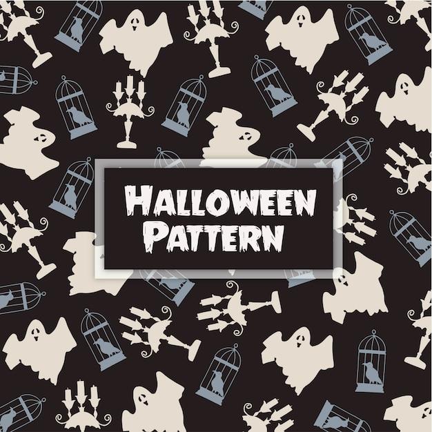 Fondo disegnato a mano del modello di halloween Vettore Premium