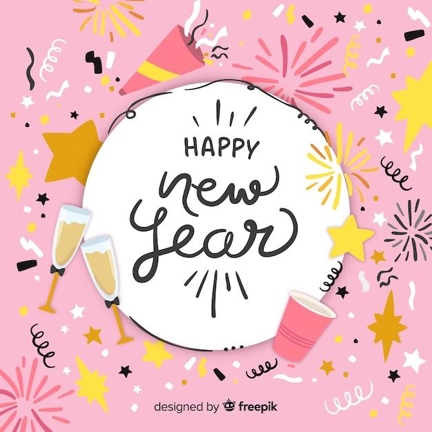 Fondo disegnato a mano del nuovo anno 2019 Vettore gratuito