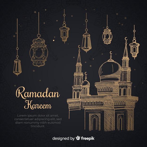 Fondo disegnato a mano del ramadan Vettore gratuito