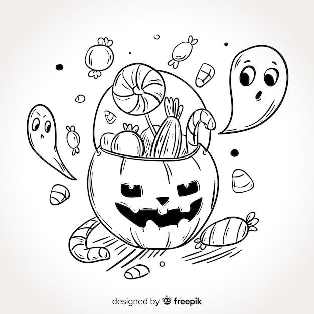 Fondo disegnato a mano della borsa della caramella di halloween Vettore gratuito