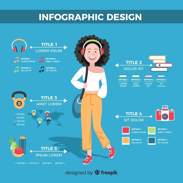 Fondo disegnato a mano della ragazza di concetto di infographic Vettore gratuito