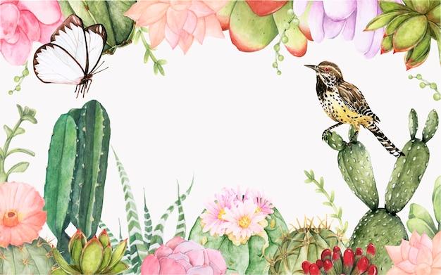 Fondo disegnato a mano delle piante di succulenti e del cactus Vettore gratuito