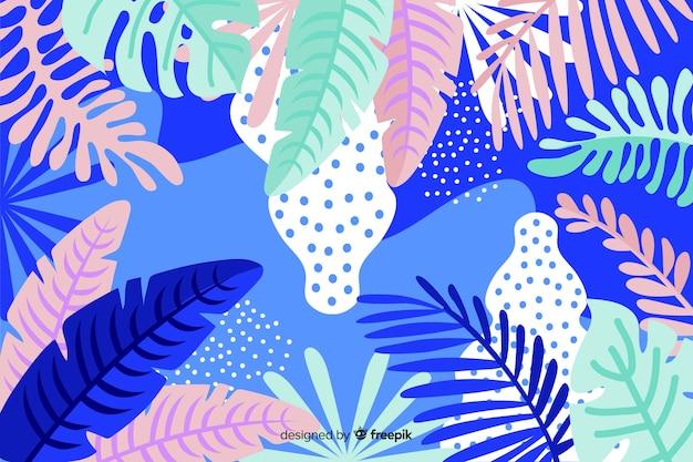 Fondo disegnato a mano delle piante tropicali Vettore gratuito