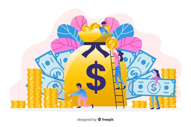 Fondo disegnato a mano di concetto di risparmio di soldi Vettore gratuito