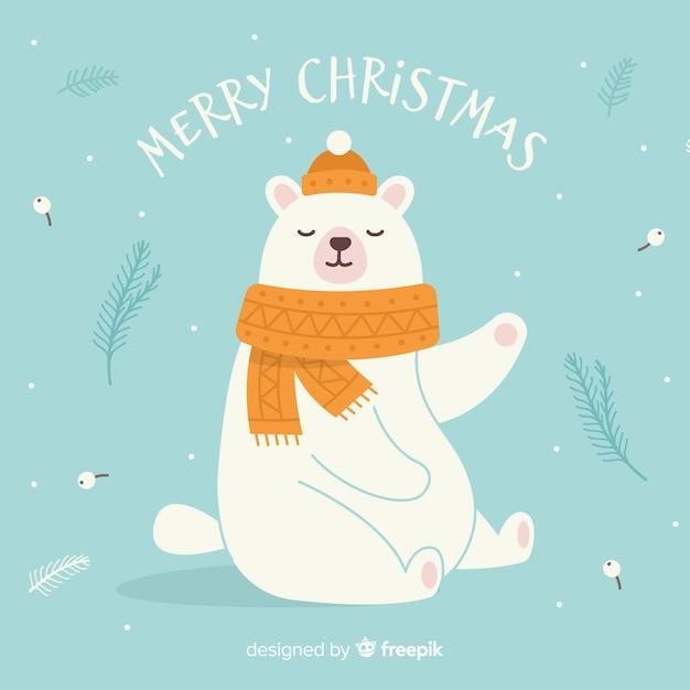 Fondo disegnato a mano di natale dell'orso polare Vettore gratuito