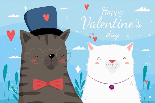 Fondo disegnato a mano di san valentino con le coppie dei gatti Vettore gratuito