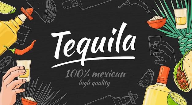 Fondo disegnato a mano di tequila con il taco messicano e pepe, bottiglia e colpo, calce e agave. modello di tequila con testo e scritte. Vettore Premium
