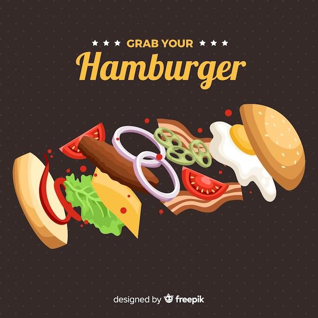 Fondo disegnato a mano hamburguer Vettore gratuito