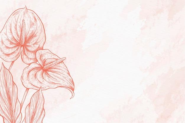 Fondo disegnato a mano pastello della polvere delle foglie Vettore gratuito