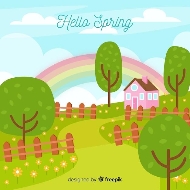 Fondo disegnato a mano primavera paesaggio Vettore gratuito