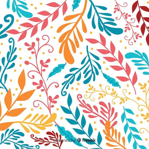 Fondo disegnato a mano variopinto delle foglie Vettore gratuito