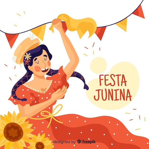 Fondo disegnato di festa junina Vettore gratuito