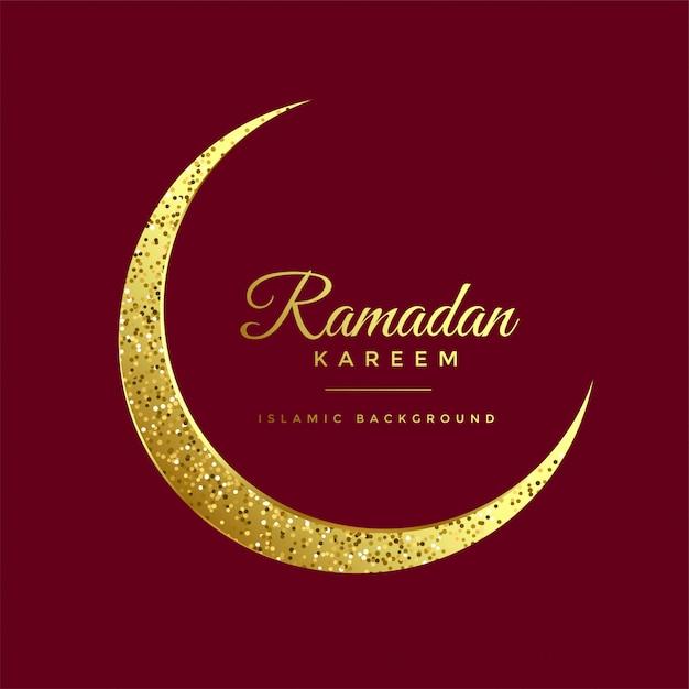 Fondo dorato del kareem del ramadan della luna di eid di scintillio Vettore gratuito