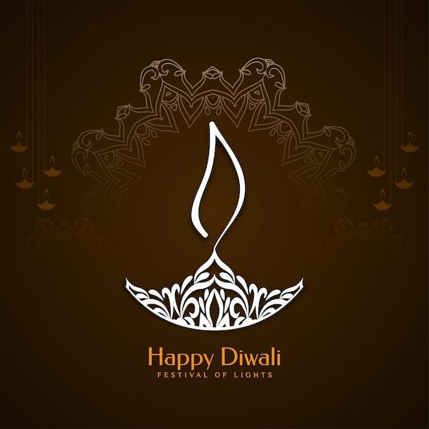 Fondo felice astratto di saluto di festival di diwali Vettore gratuito