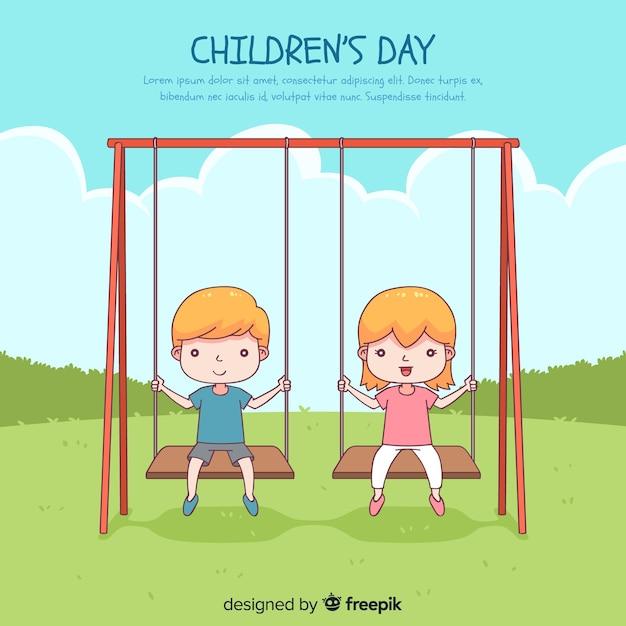 Fondo felice del giorno dei bambini con i bambini nello stile disegnato dell'oscillazione a disposizione Vettore gratuito