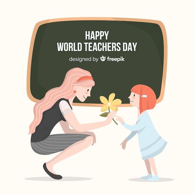 Fondo felice dell'insegnante del mondo felice con l'insegnante e la lavagna femminili Vettore gratuito
