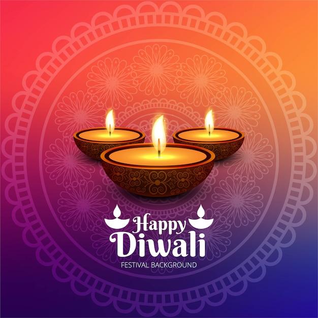 Fondo felice della carta di festival della lampada a olio di diya di diwali Vettore gratuito