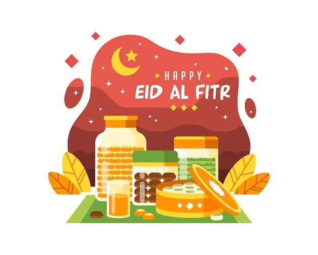 Fondo felice di eid al fitr con l'illustrazione degli alimenti Vettore Premium