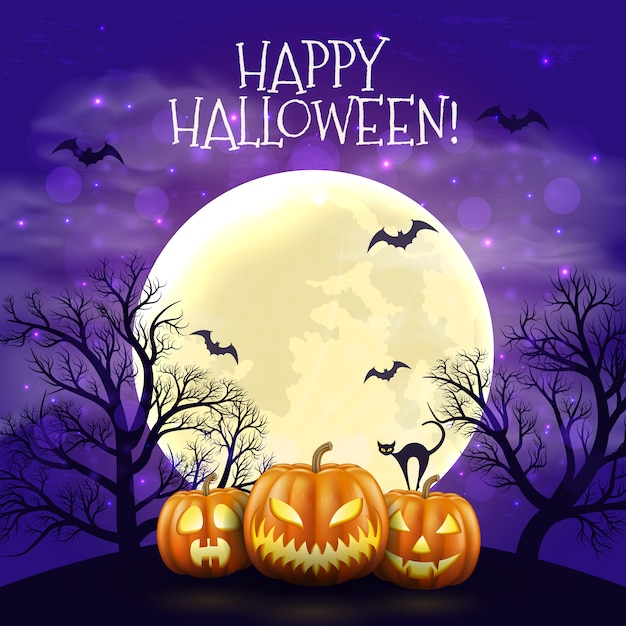 Fondo felice di notte di halloween con le zucche e la luna spaventose realistiche. Vettore Premium