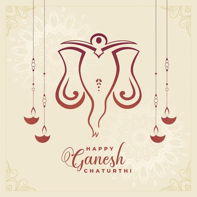 Fondo felice tradizionale di celebrazione di festival di chaturthi di ganesh Vettore gratuito