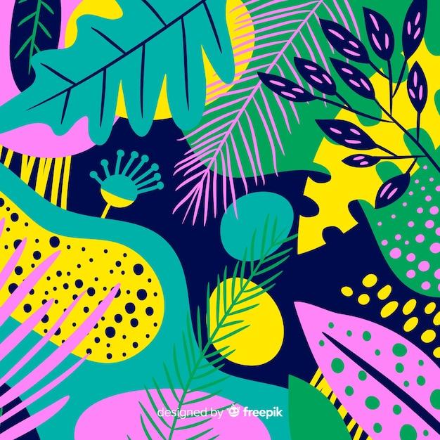 Fondo floreale tropicale disegnato a mano Vettore gratuito