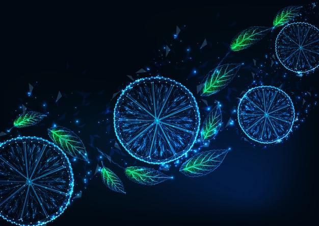 Fondo futuristico con fette di limone poli basso incandescente, foglie di menta verde, su blu scuro Vettore Premium