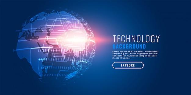 Fondo futuristico della terra digitale di tecnologia globale Vettore gratuito
