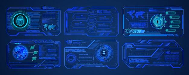 Fondo futuro di concetto di tecnologia del circuito cyber blu del mondo di hud, lucchetto chiuso su digitale Vettore Premium