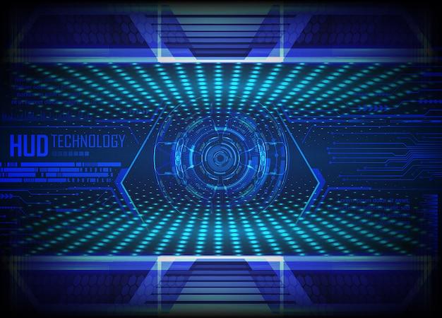 Fondo futuro di concetto di tecnologia del circuito cyber blu Vettore Premium