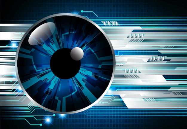 Fondo futuro di concetto di tecnologia del circuito cyber dell'occhio azzurro Vettore Premium