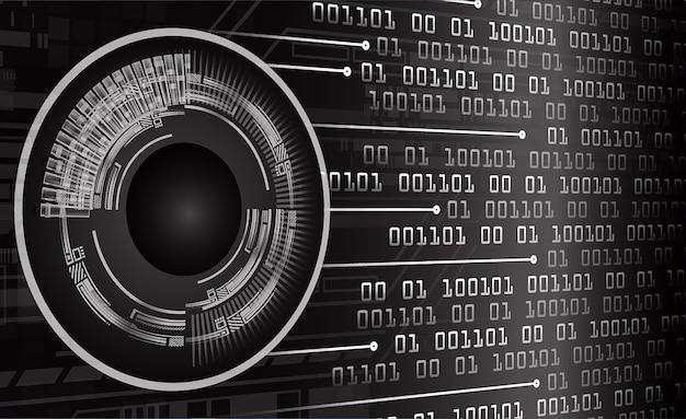 Fondo futuro di concetto di tecnologia del circuito cyber dell'occhio nero Vettore Premium