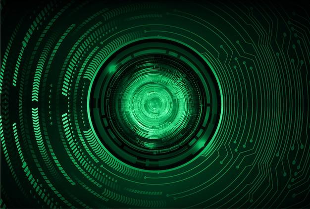 Fondo futuro di concetto di tecnologia del circuito cyber dell'occhio verde Vettore Premium