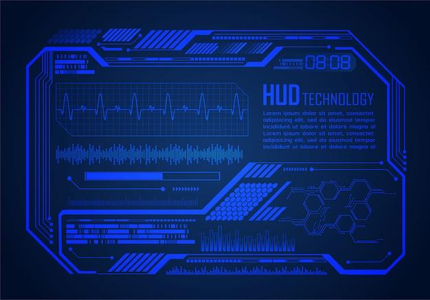 Fondo futuro di concetto di tecnologia del circuito cyber di hud, monitor di impulso di elettrocardiogramma Vettore Premium