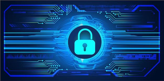 Fondo futuro di tecnologia del circuito cibernetico blu hud, lucchetto chiuso, chiave Vettore Premium
